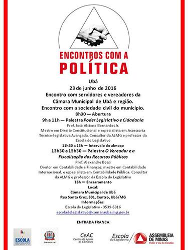 """ALMG promove """"Encontros com a Política"""" na Câmara"""