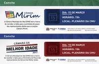 Legislativo convida para lançamento dos projetos Câmara Mirim e Câmara da Melhor Idade