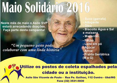 Maio Solidário: CMU apoia campanha realizada pelo Asilo São Vicente de Paulo