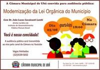 Modernização da Lei Orgânica do Município de Ubá será discutida em audiência pública