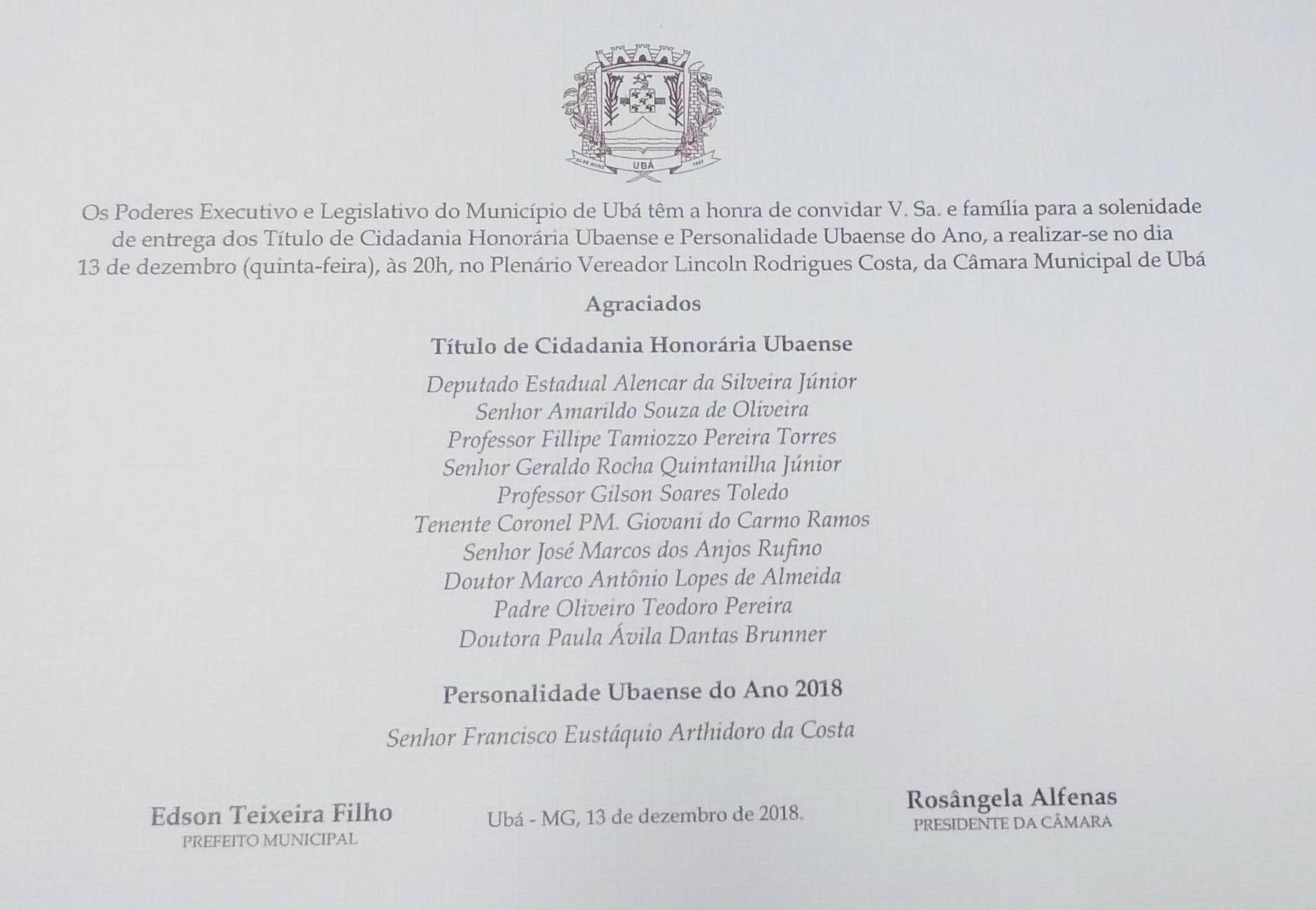 Solenidade de entrega de Títulos de Cidadania Honorária e Personalidade Ubaense será realizada na quinta-feira (13)
